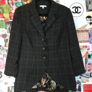 Wool Cabi Coat Green Plaid Size 12